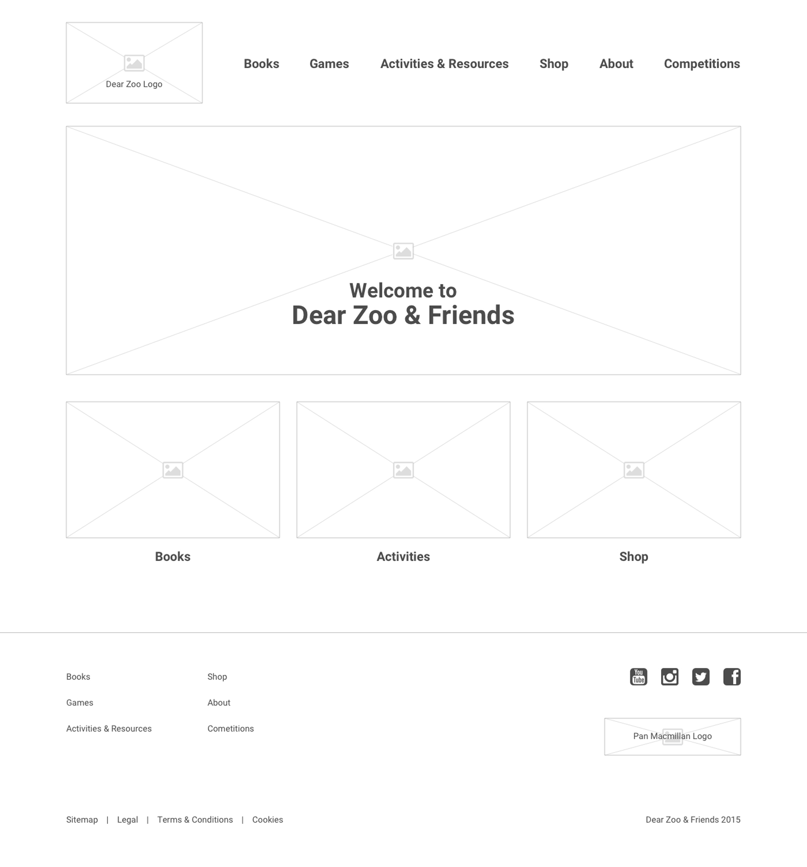 Dear Zoo - Home Page Wireframe