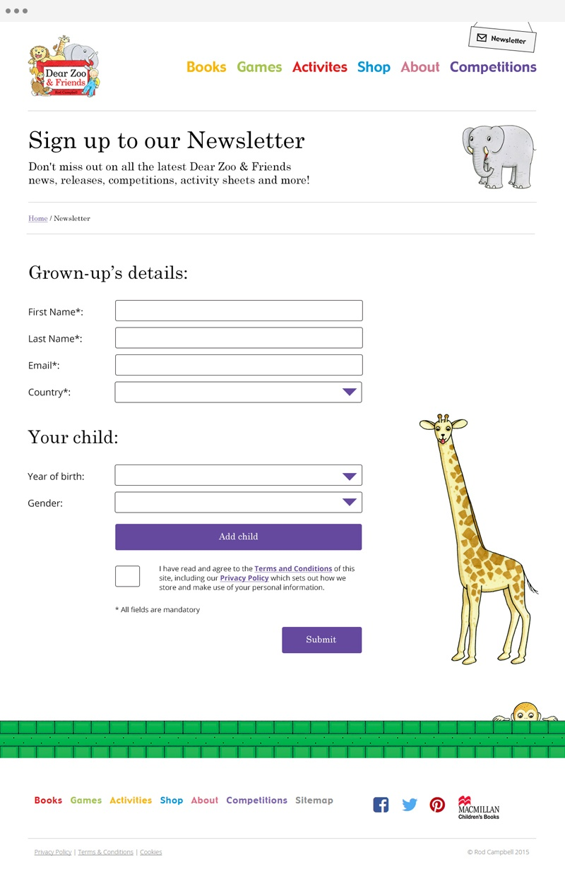 Dear Zoo - Newsletter Sign Up Design