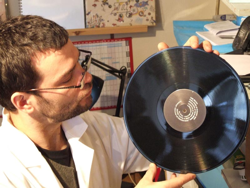 Vinyl record cleaning at Rat Records:Now you could eat your dinner off it. But don't.