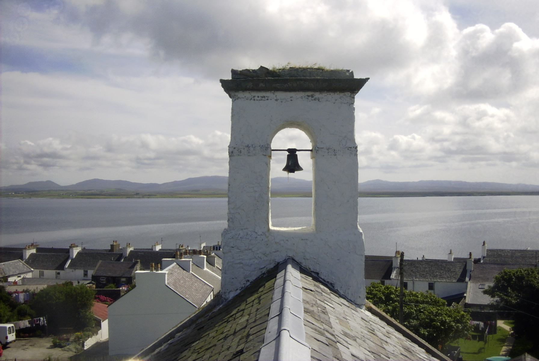 View over Port Charlotte from the renovated Hall roof