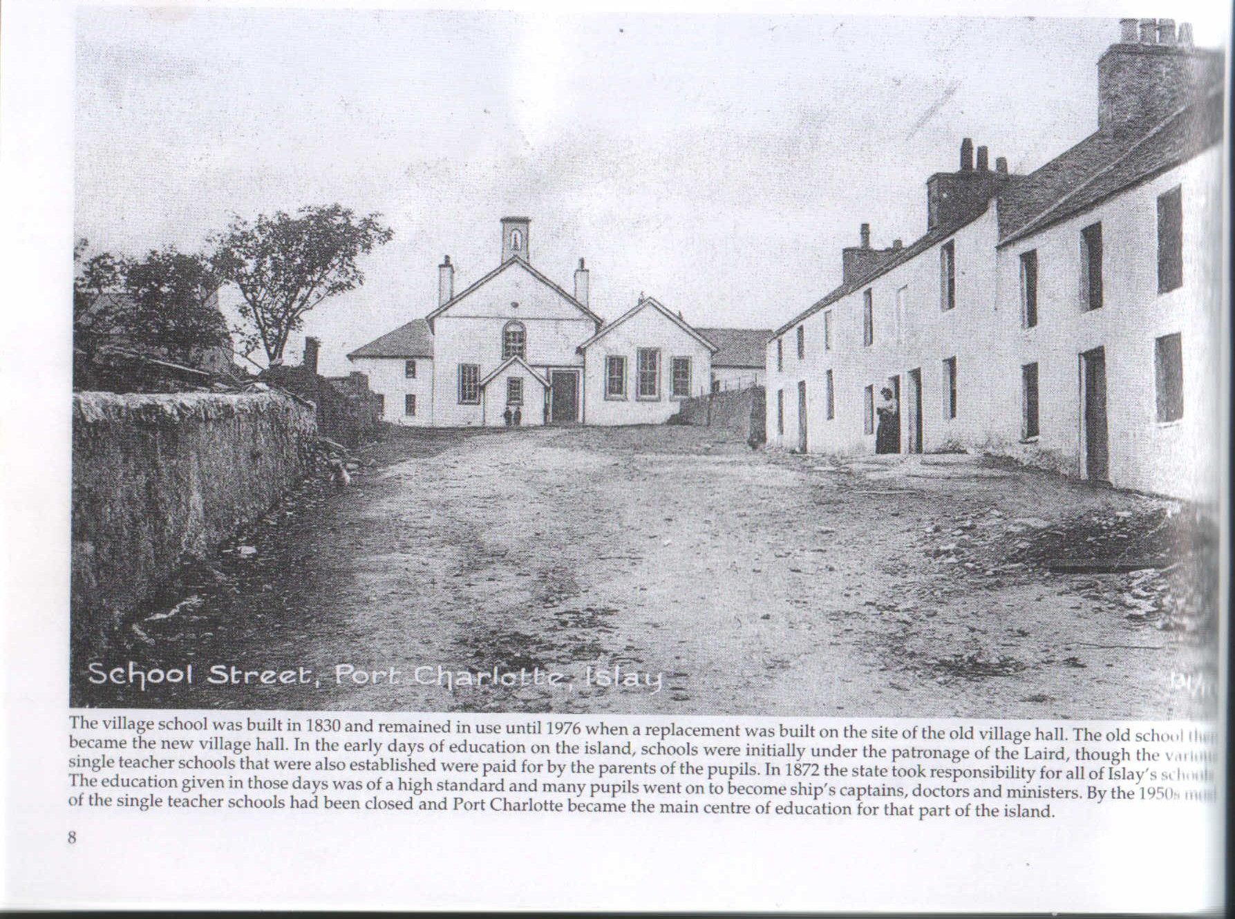 Historic photo of the Hall and School Street
