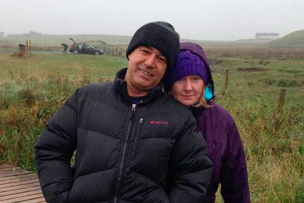 Margaret and Sirus on a damp day at Kilchoman