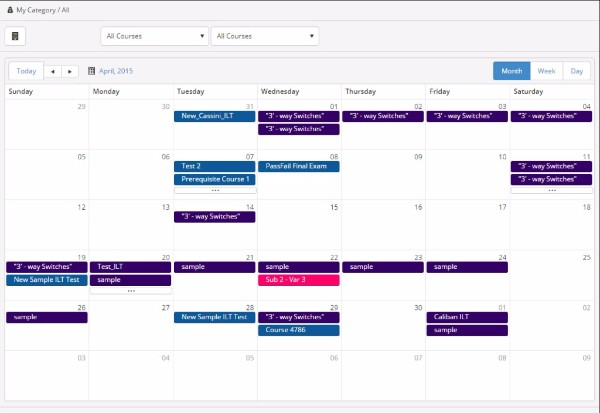 Calendar View - SmarterU LMS - Blended Learning