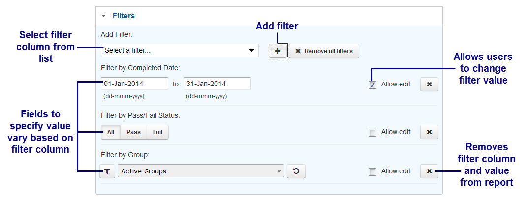 Adding Filters and Selecting Columns - SmarterU LMS - Learning Management System