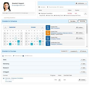 Learner Dashboard - SmarterU LMS - Corporate Training