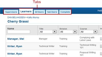 Tabs - SmarterU LMS - Blended Learning