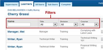Filters - SmarterU LMS - Blended Learning