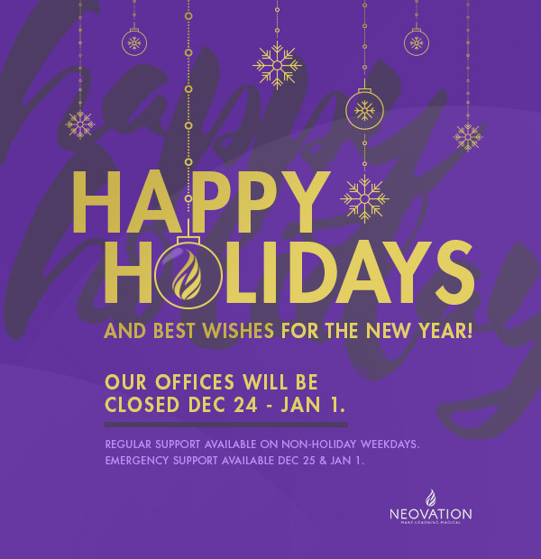 Happy Holidays! - SmarterU support will be available on all non-holiday weekdays. Emergency support will be available on December 25 & January 1. - SmarterU LMS - Blended Learning