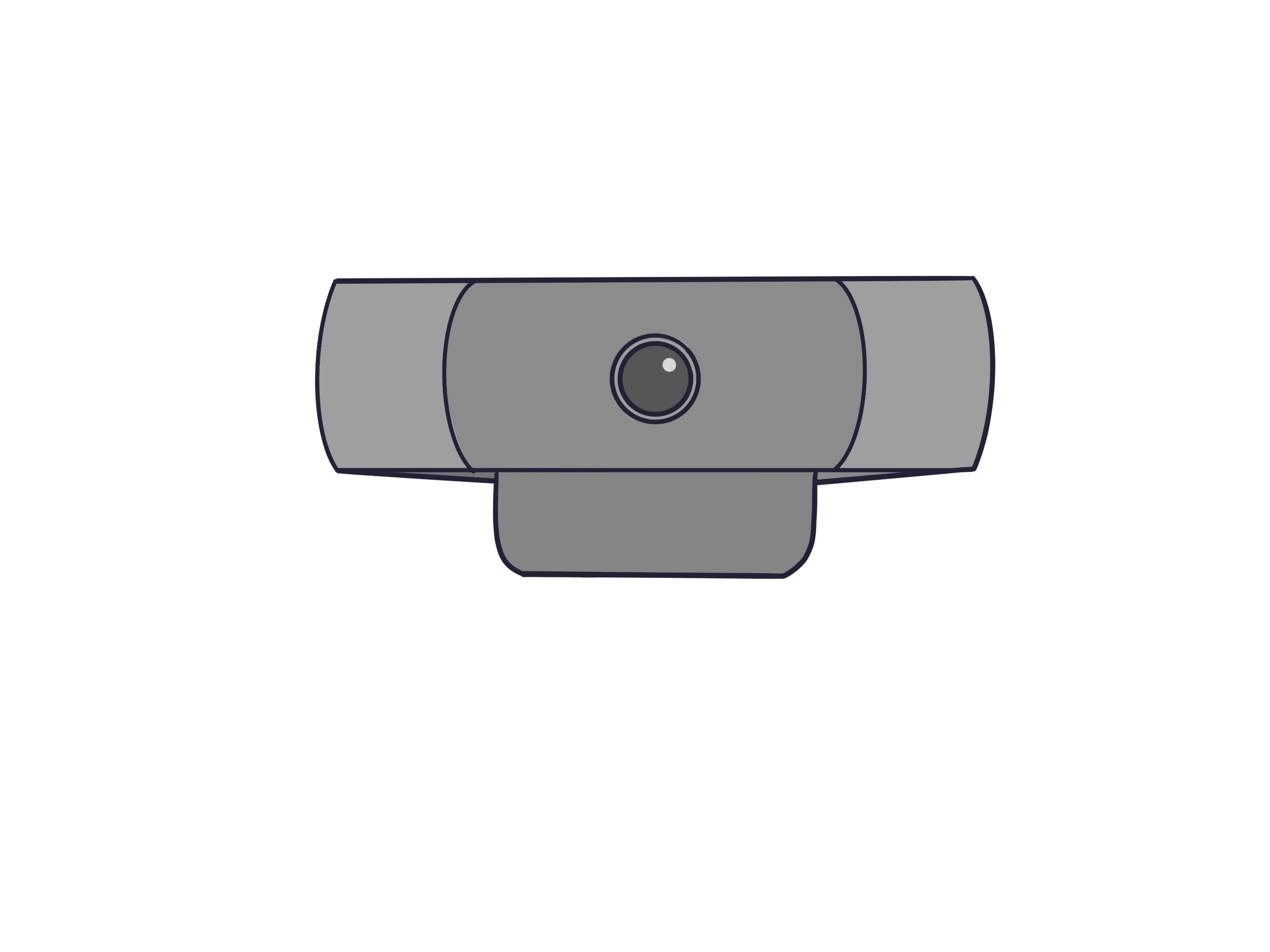 Image of the external camera. a small, rectangular device with a camera in the middle and adjustable clamps.