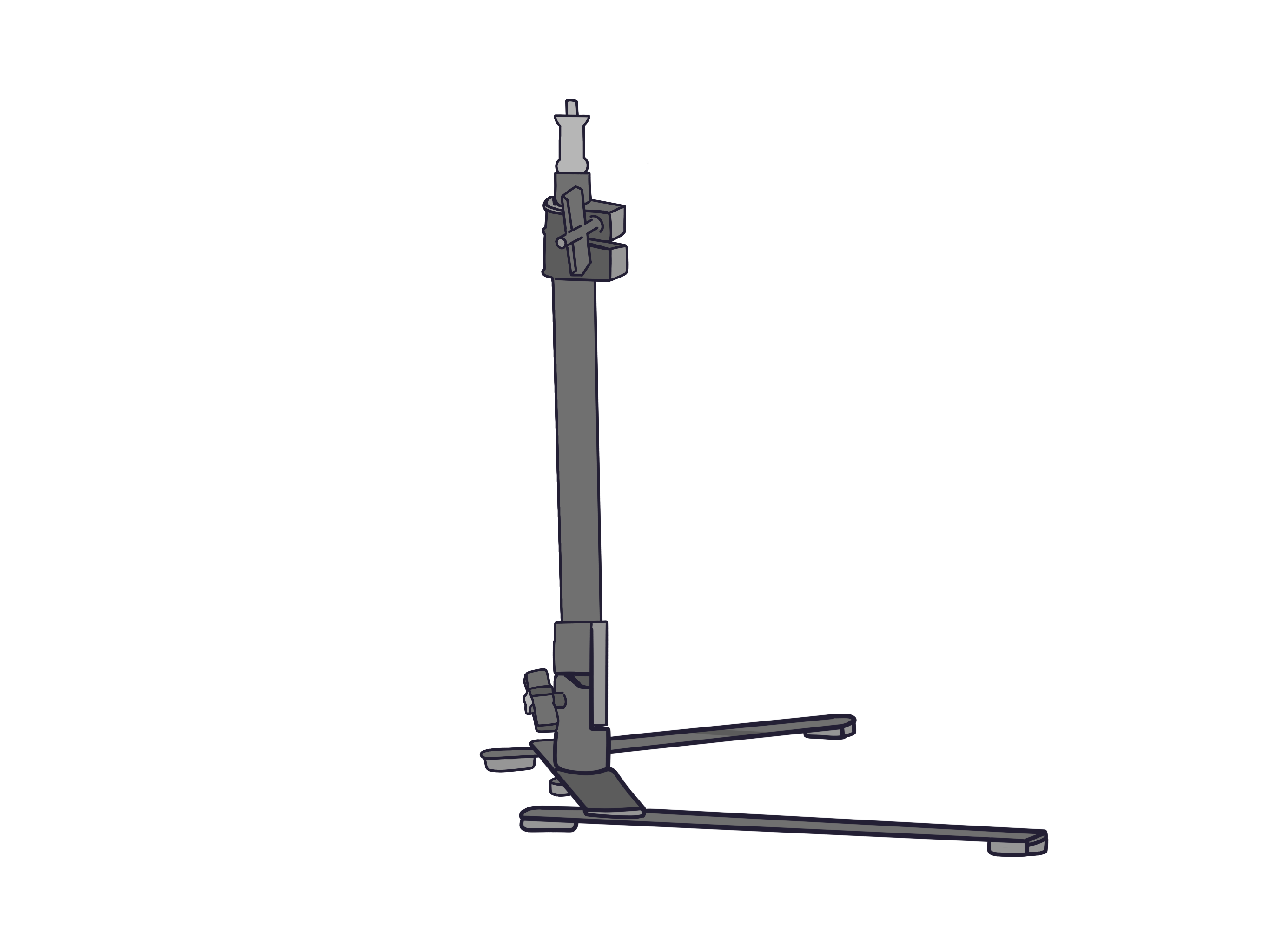 Camera Mount. A long adjustable stand with legs that extend out for balance.