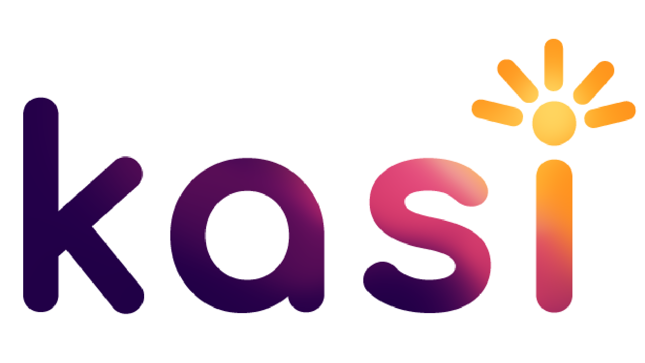 Kassie (spelled k a s i) logo with an epiphany over the dot in the letter eye representing light rays or an idea. the logo is a dark purple to light yellow gradient going from lower left to the upper right part of the logo.