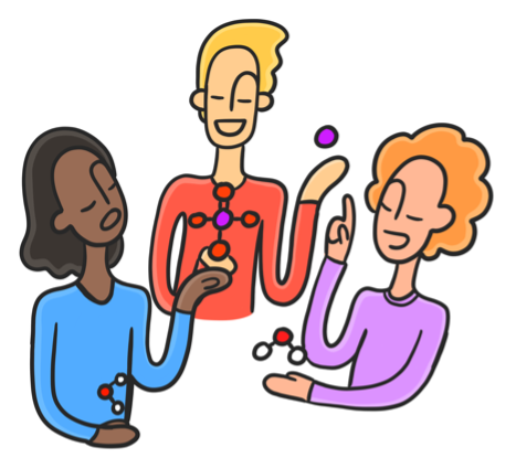 Illustration of three students working together to build a variety of molecular structures. The illustration style features soft line work resembling Globohomo art styles. The students have elongated arms holding round molecular structures.