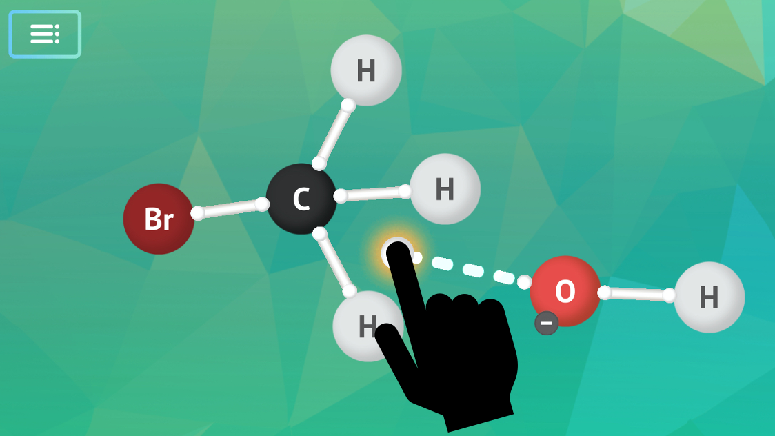 Screenshot of the Mechanisms app showing electrons moving from an oxygen moving to a carbon. There is a sillohete showing that a user would use their finger to move them.
