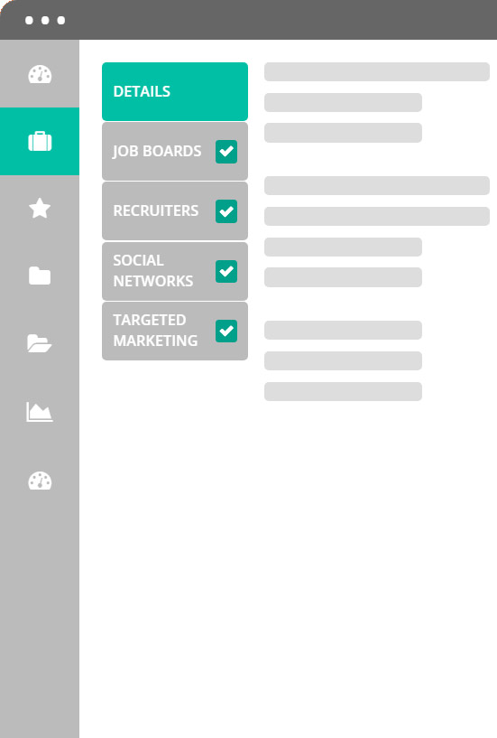 The BidRecruit platform allows you to share your job across multiple channels with the click of a mouse