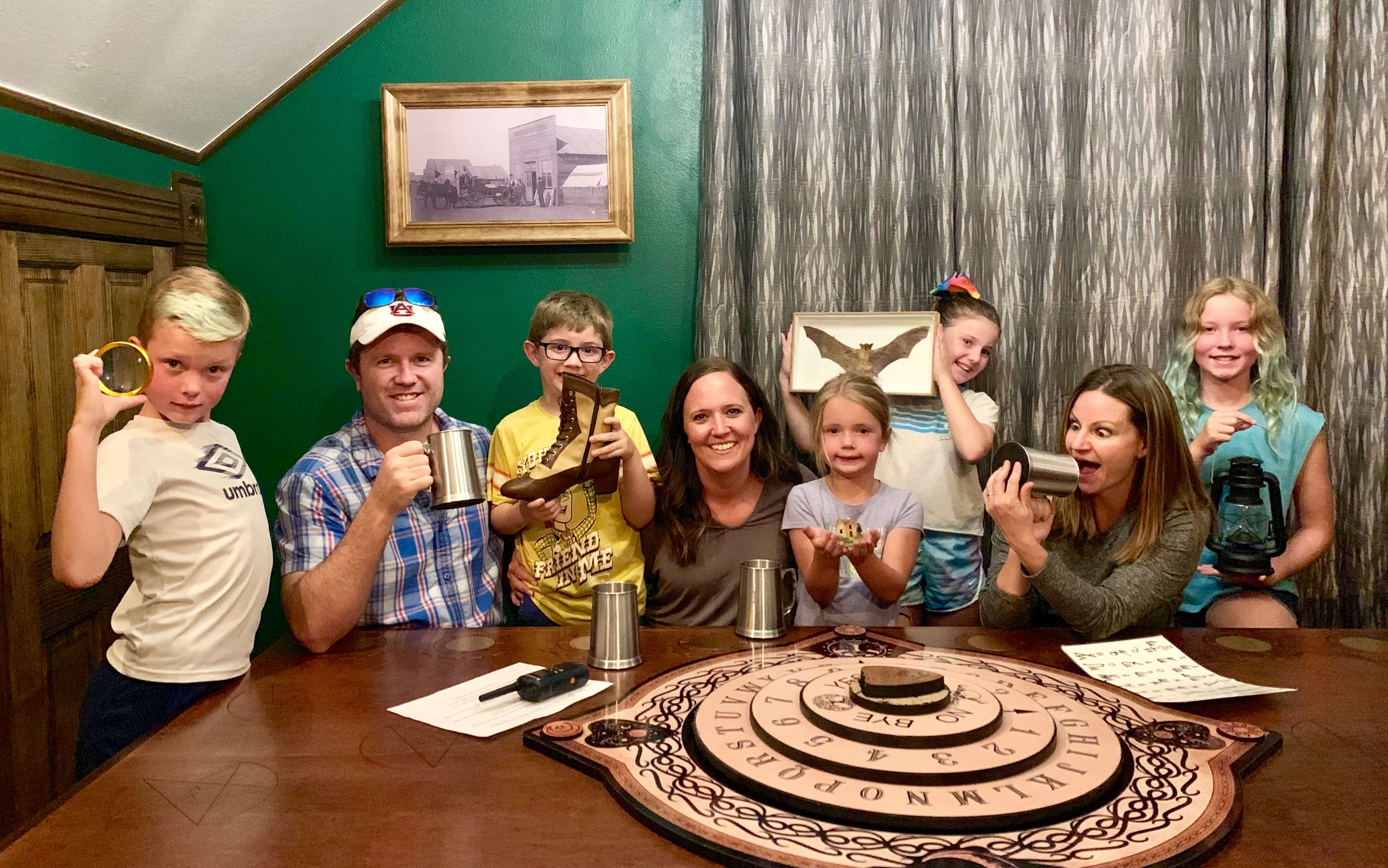 Family that just finished the Paranormal Mystery of Breckenridge Escape Room
