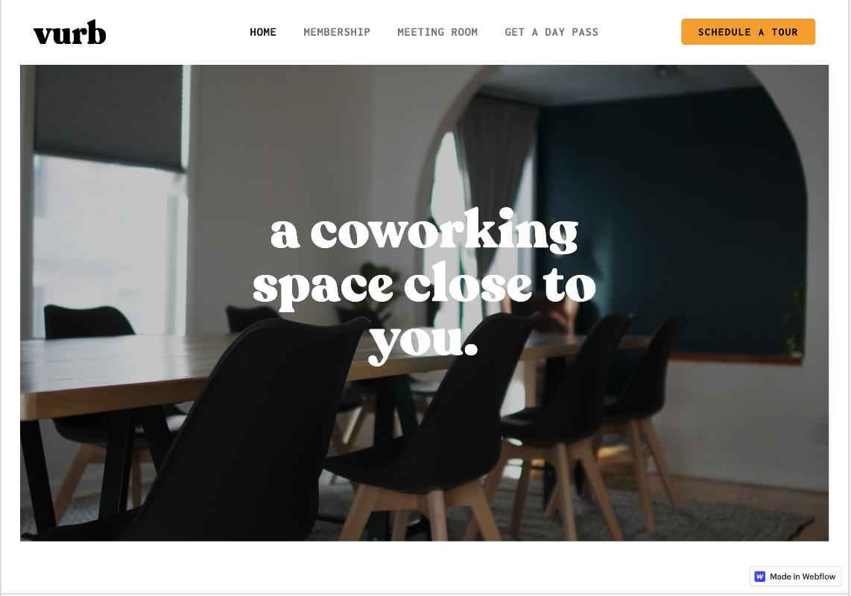 Image of Vurb Website homepage.