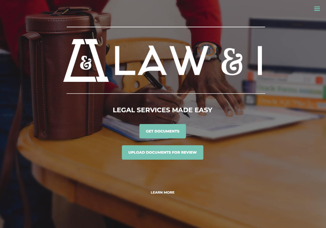 Image of Law and I homepage.