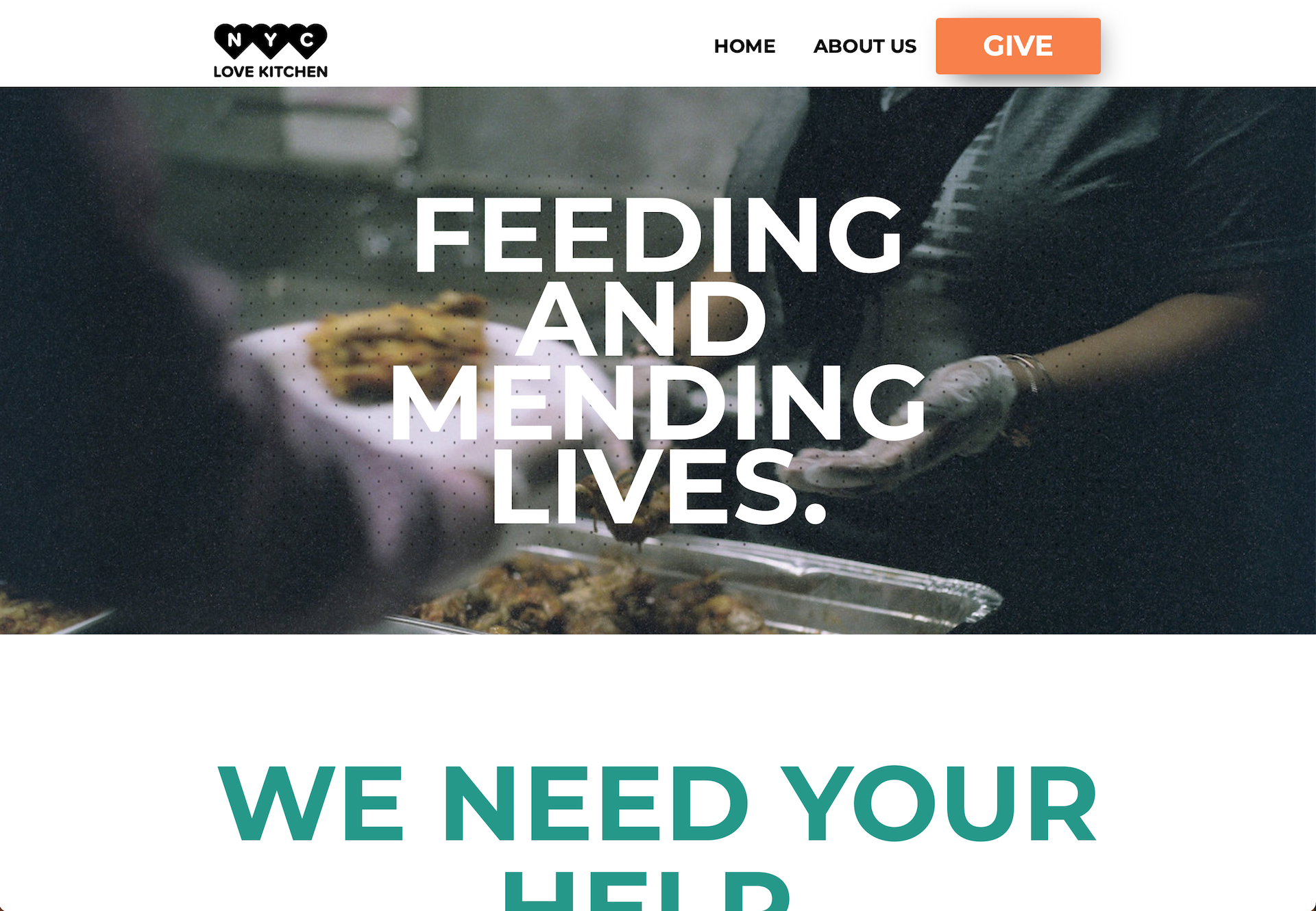 Image of Love Kitchen Homepage.