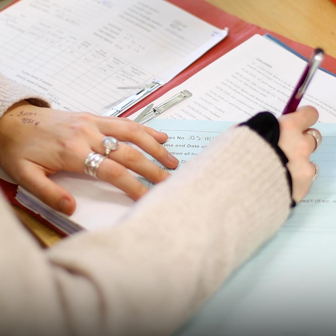 Close up of paperwork
