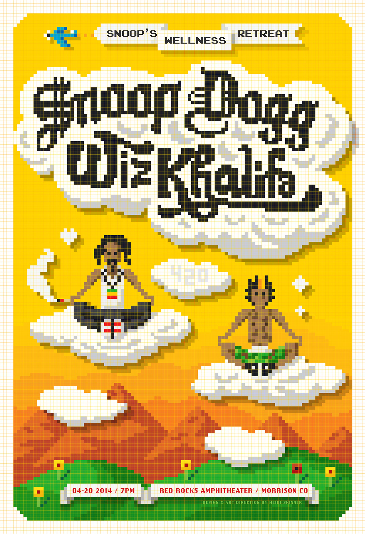 Vector 8-bit pixel illustration of Snoop Dogg & Wiz Khalifa concert poster