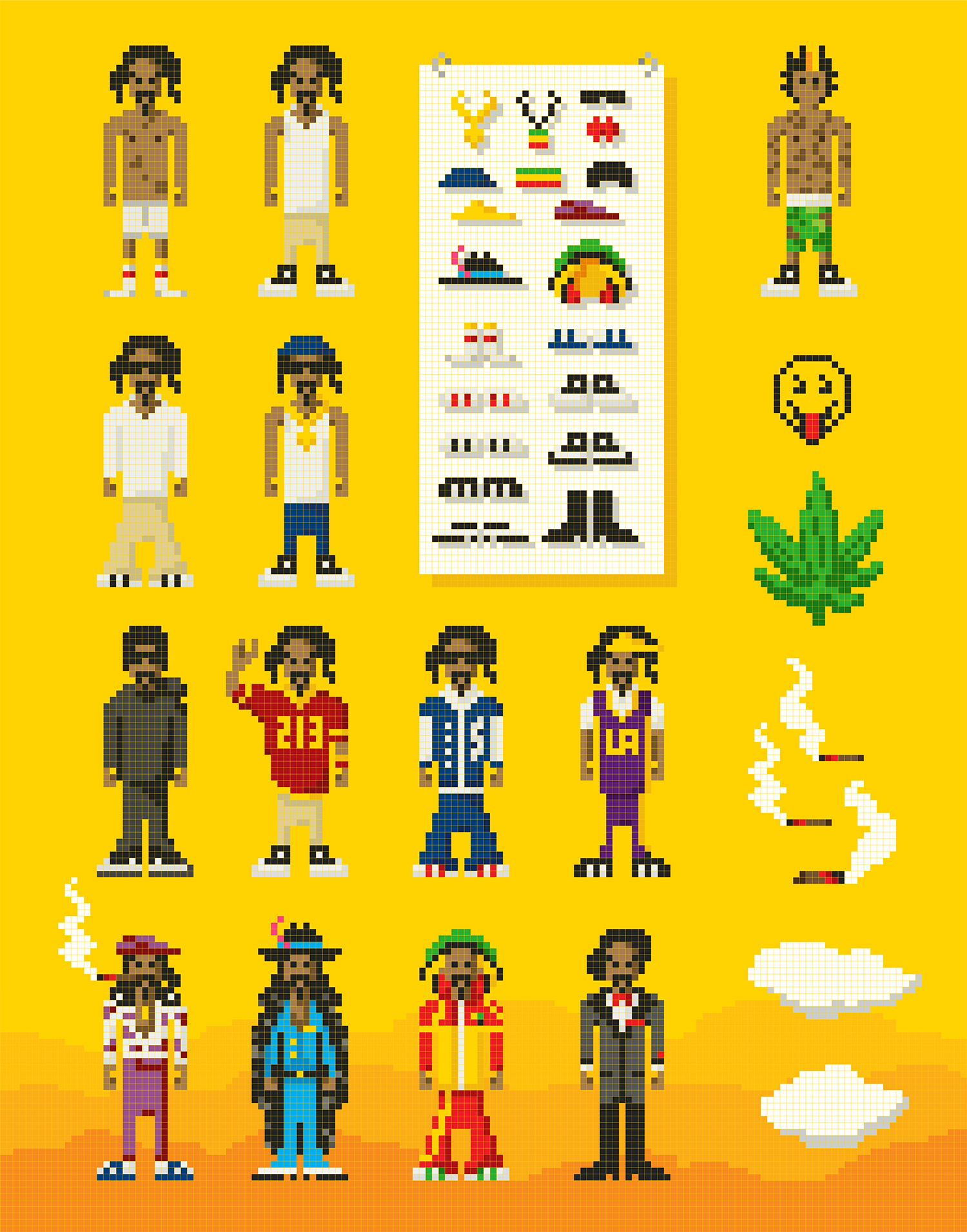 8-bit pixel Vector illustrations of Snoop Dogg & Wiz Khalifa characters