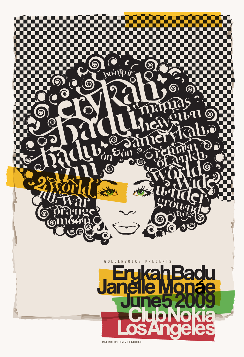 Vector illustration of Erykah Badu concert poster feat. Janelle Monae / Design by Heidi Skinner
