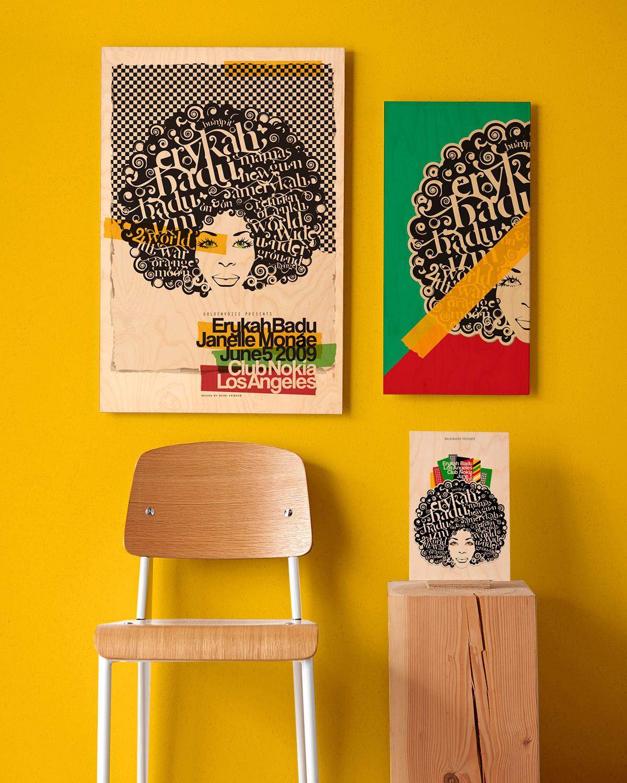 Framed concert posters for Erykah Badu feat. Janelle Monae / Design by Heidi Skinner