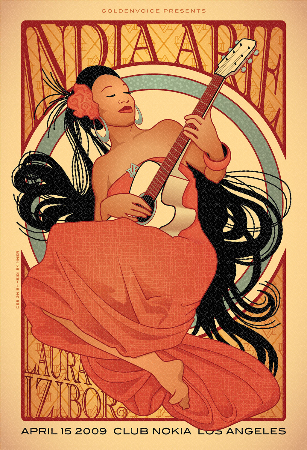 Vector illustration of India Arie concert poster / Design by Heidi Skinner
