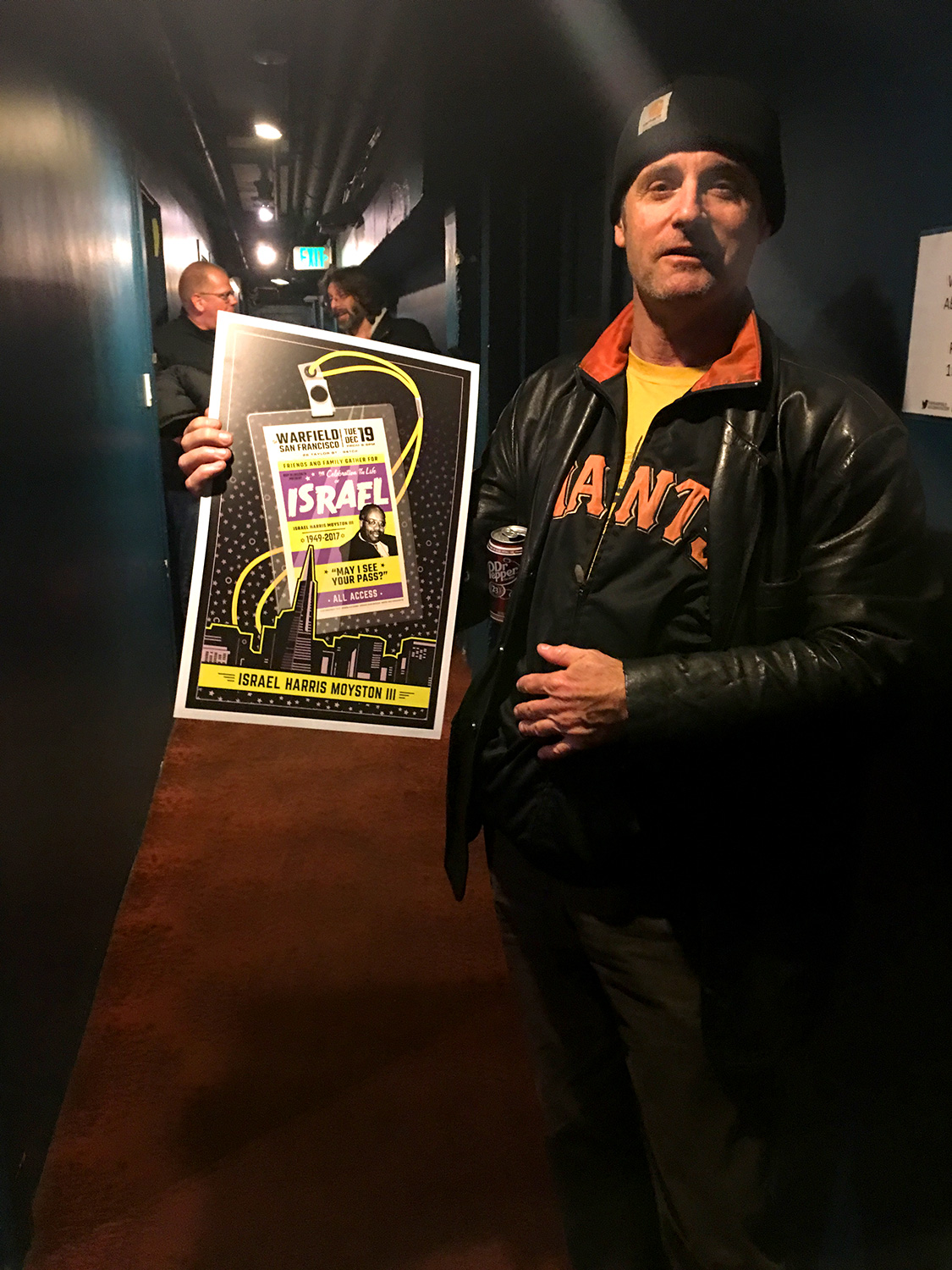 Friends backstage at The Warfield receiving concert poster / Design by Heidi Skinner