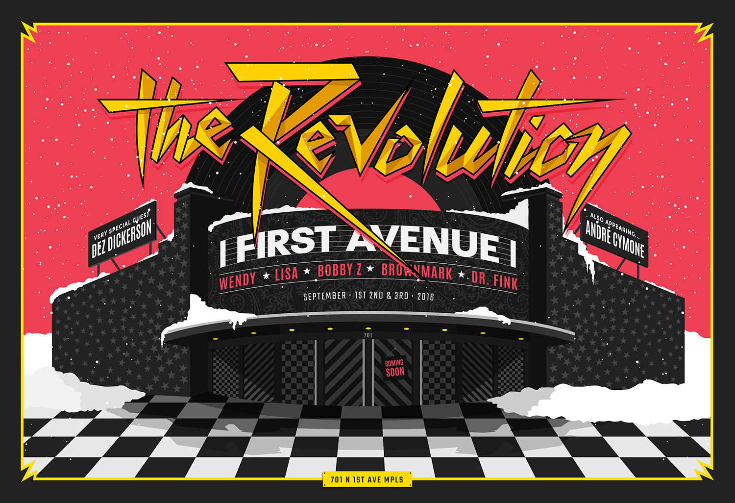 Vector illustration for The Revolution concert poster at Fist Avenue building in Minneapolis, MN / Design by Heidi Skinner