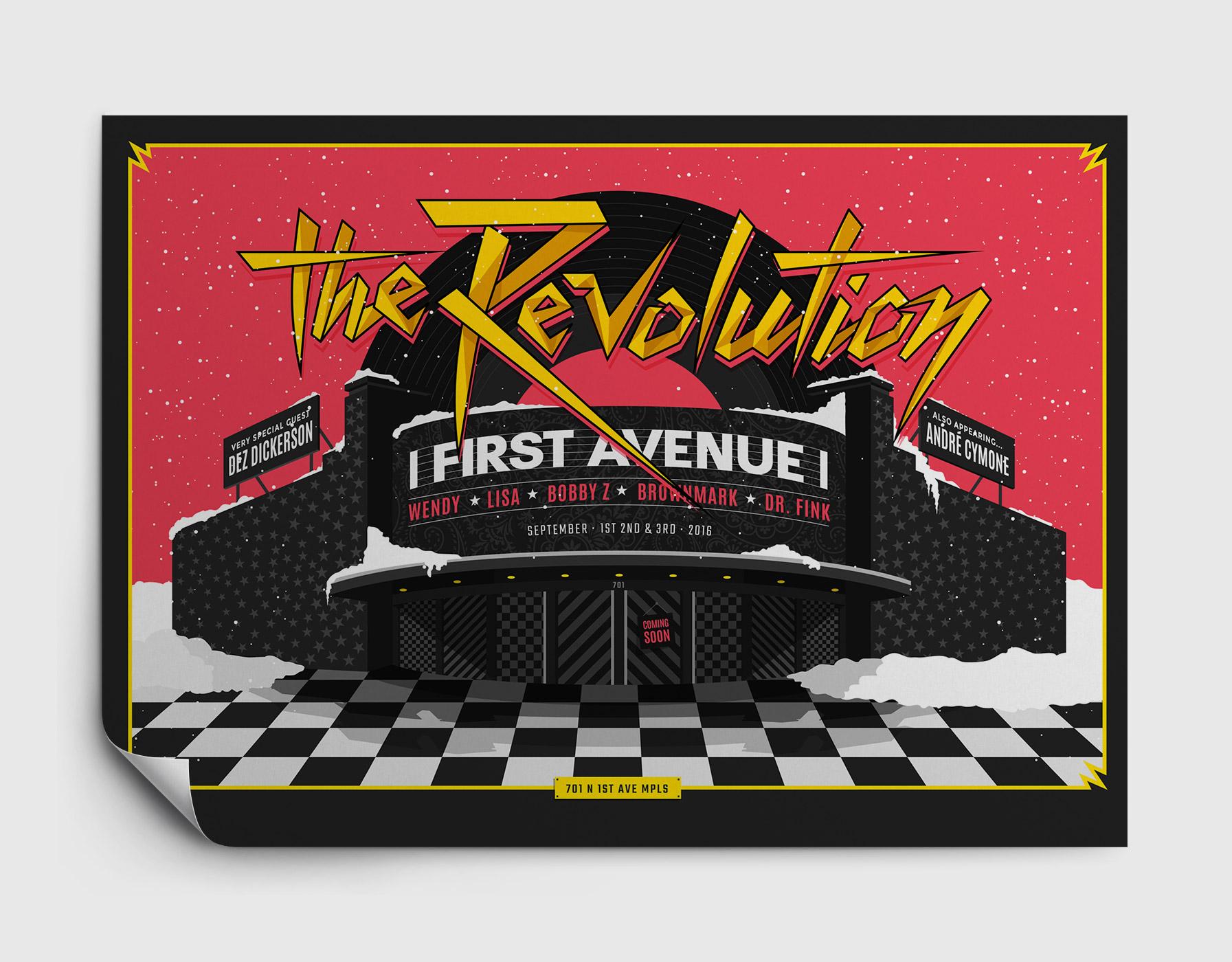 The Revolution poster design on hanging poster paper / Design by Heidi Skinner