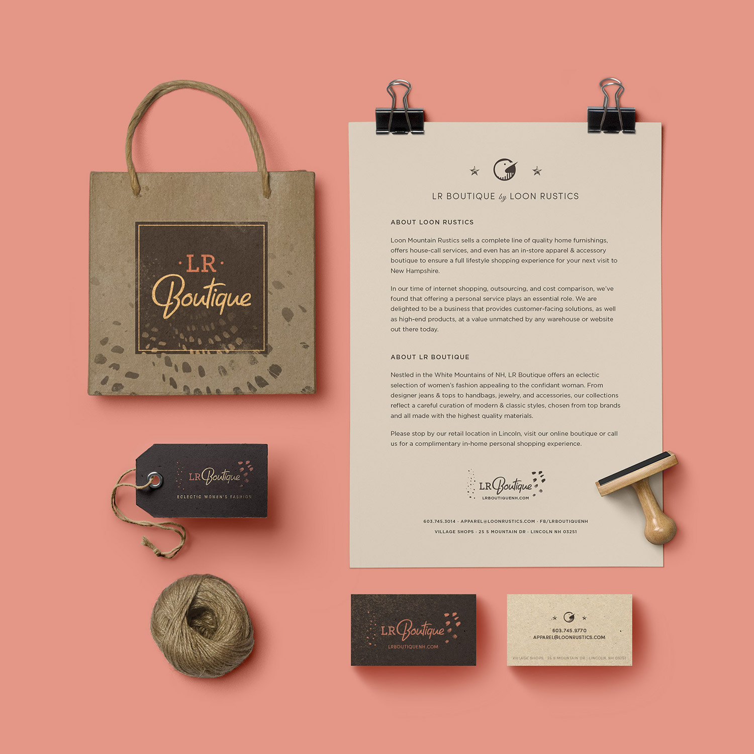 LR Boutique branded stationery