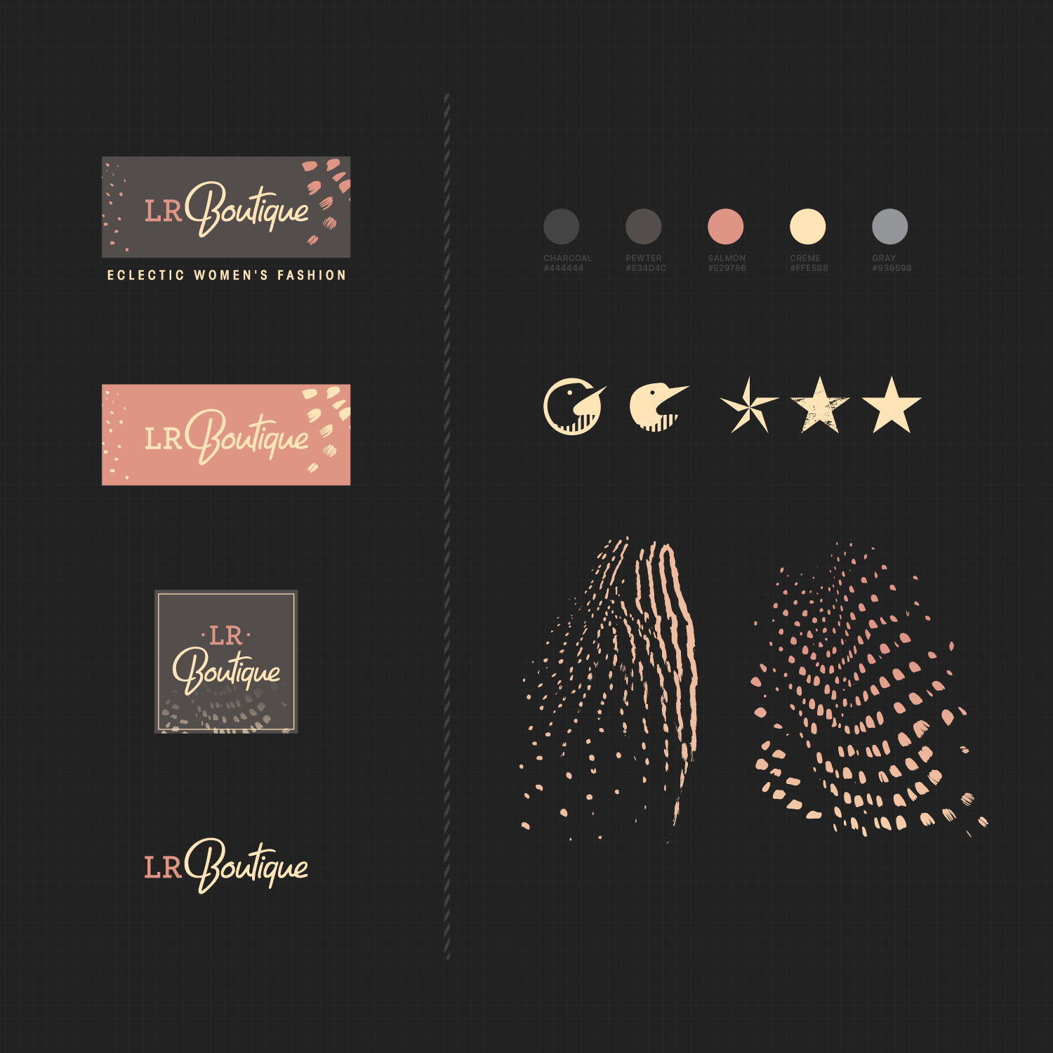 LR Boutique logo variations and accompanying artwork