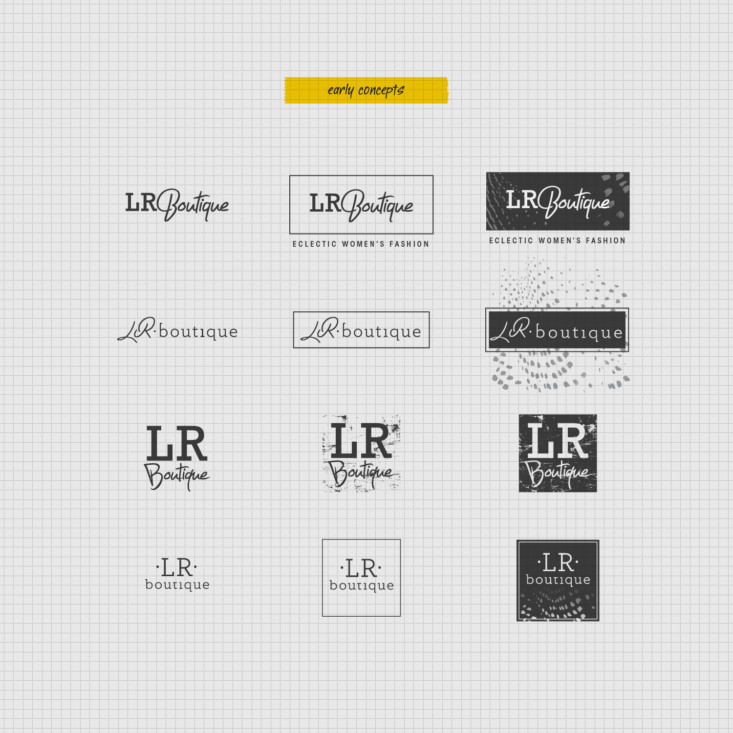 LR Boutique early logo concepts