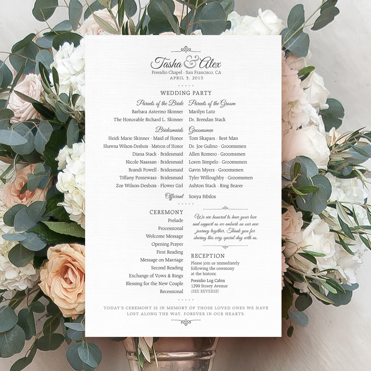 wedding ceremony program design with floral bouquet behind