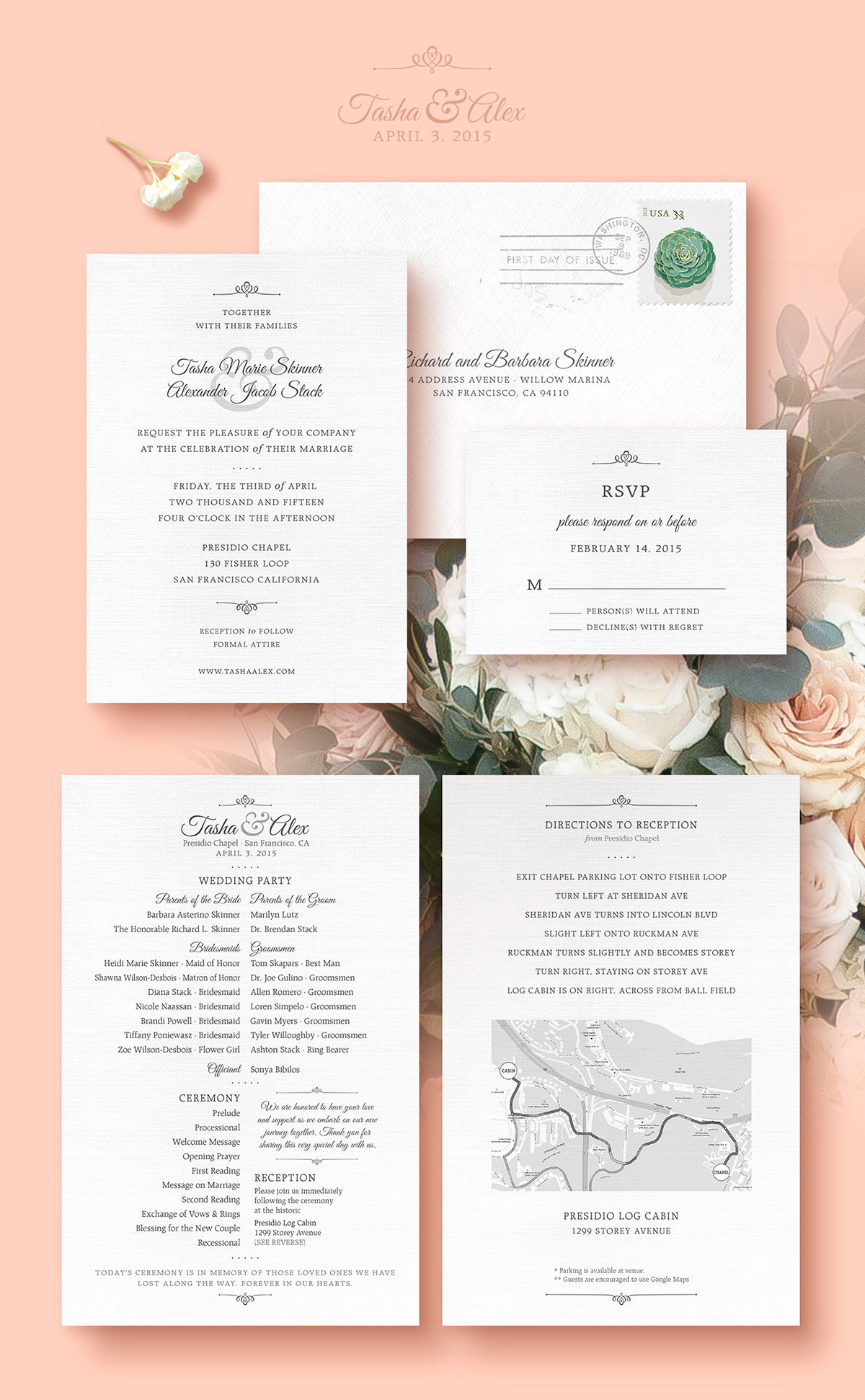 Wedding invitation, RSVP card and wedding program designs