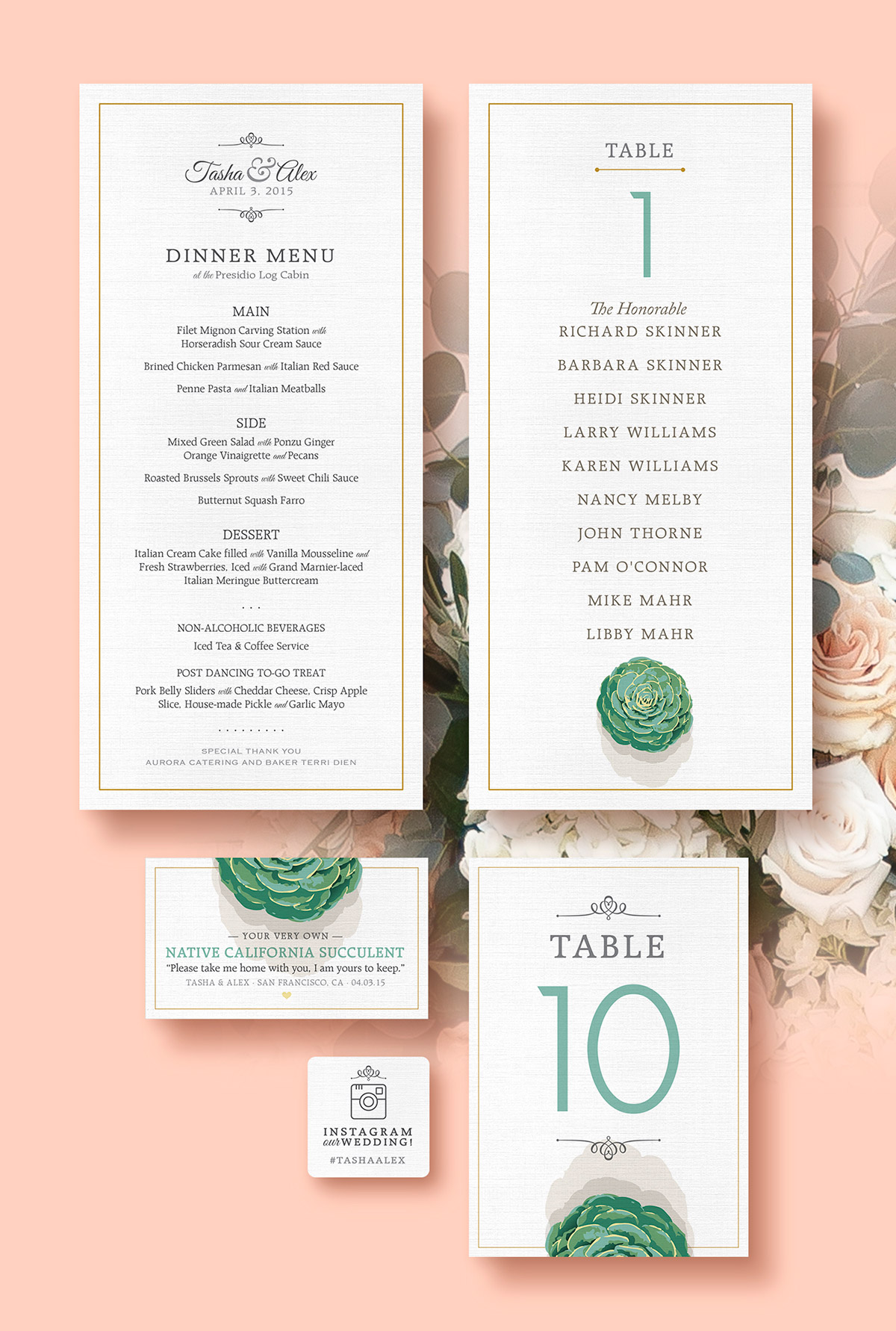 Wedding dinner menu, table sign, gift cards and sticker designs