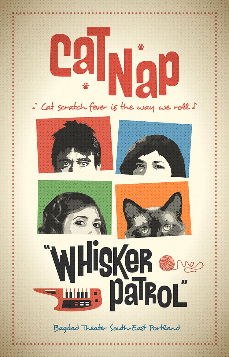 Portlandia Cat Nap Whisker Patrol Poster / Design by Heidi Skinner
