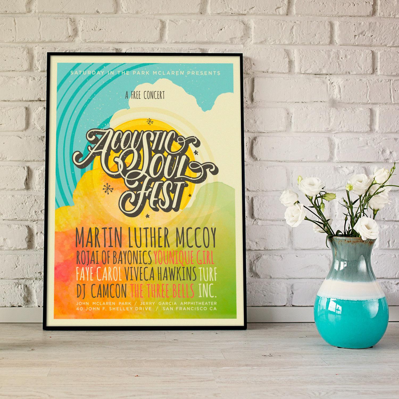 Acoustic Soul Festival poster framed / Design by Heidi Skinner