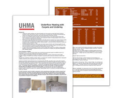 UHMA UFH carpet guide