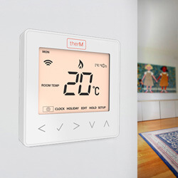 The therM® control range from Continental Underfloor was used not only to control the underfloor zones individually, but was simple to retrofit on the existing thermostat that was controlling the radiator system.