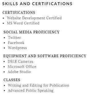 resume skills and cert final