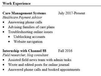 resume work exp