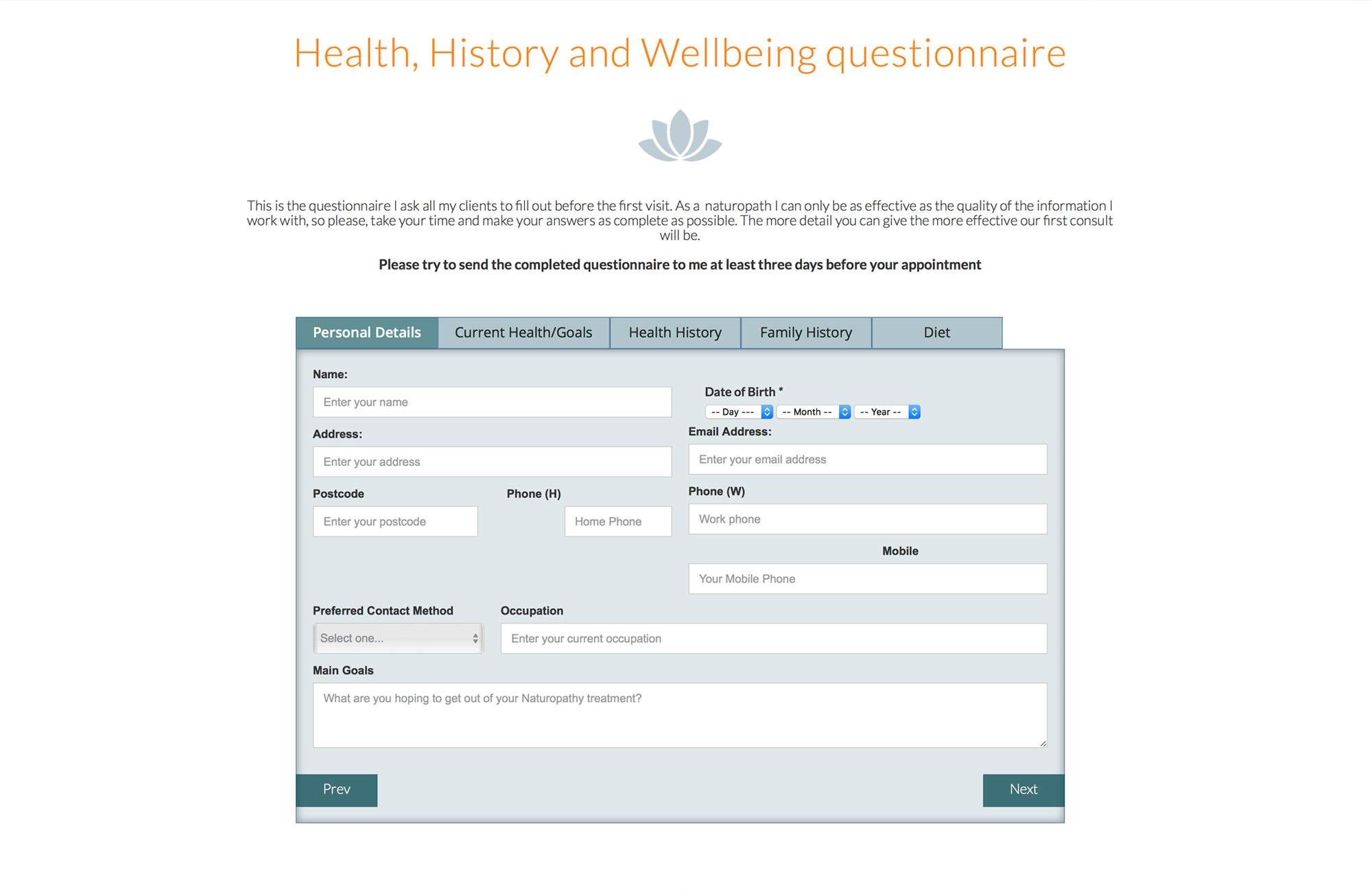 janenaturopath health history