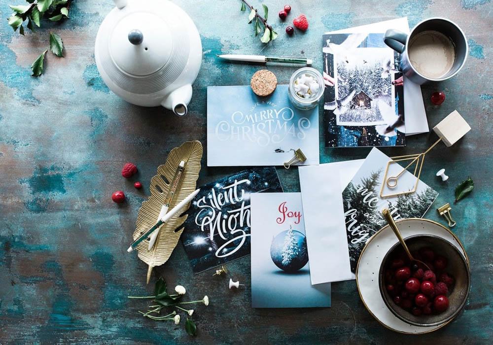 Christmas cards on a table
