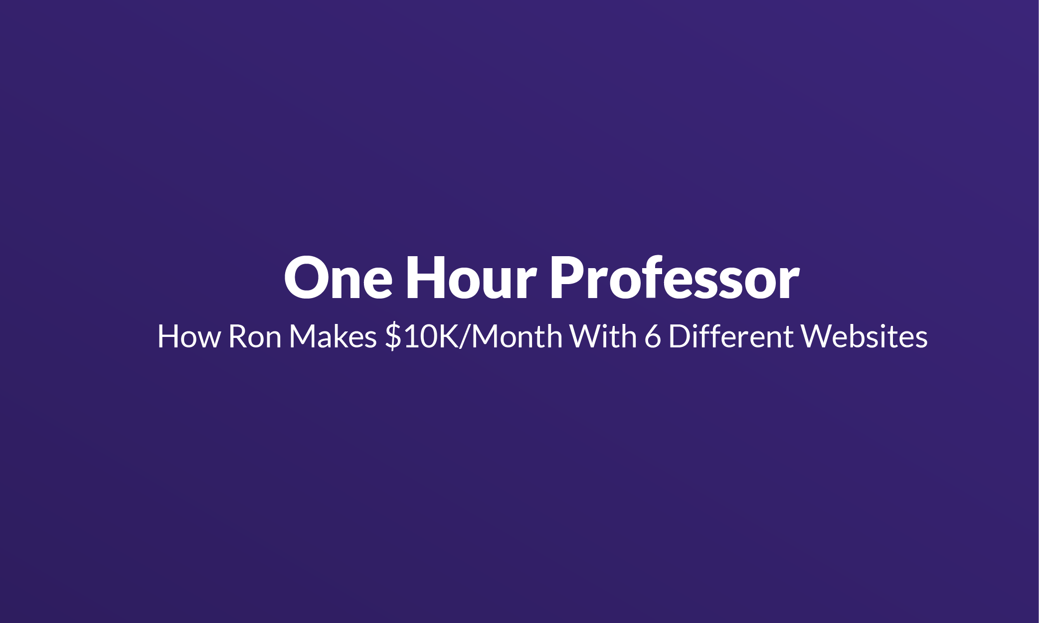 One Hour Professor Mistakes
