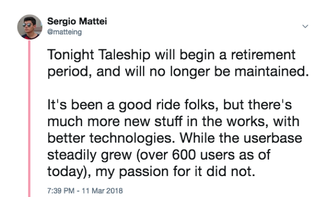 Taleship Shutdown Tweet