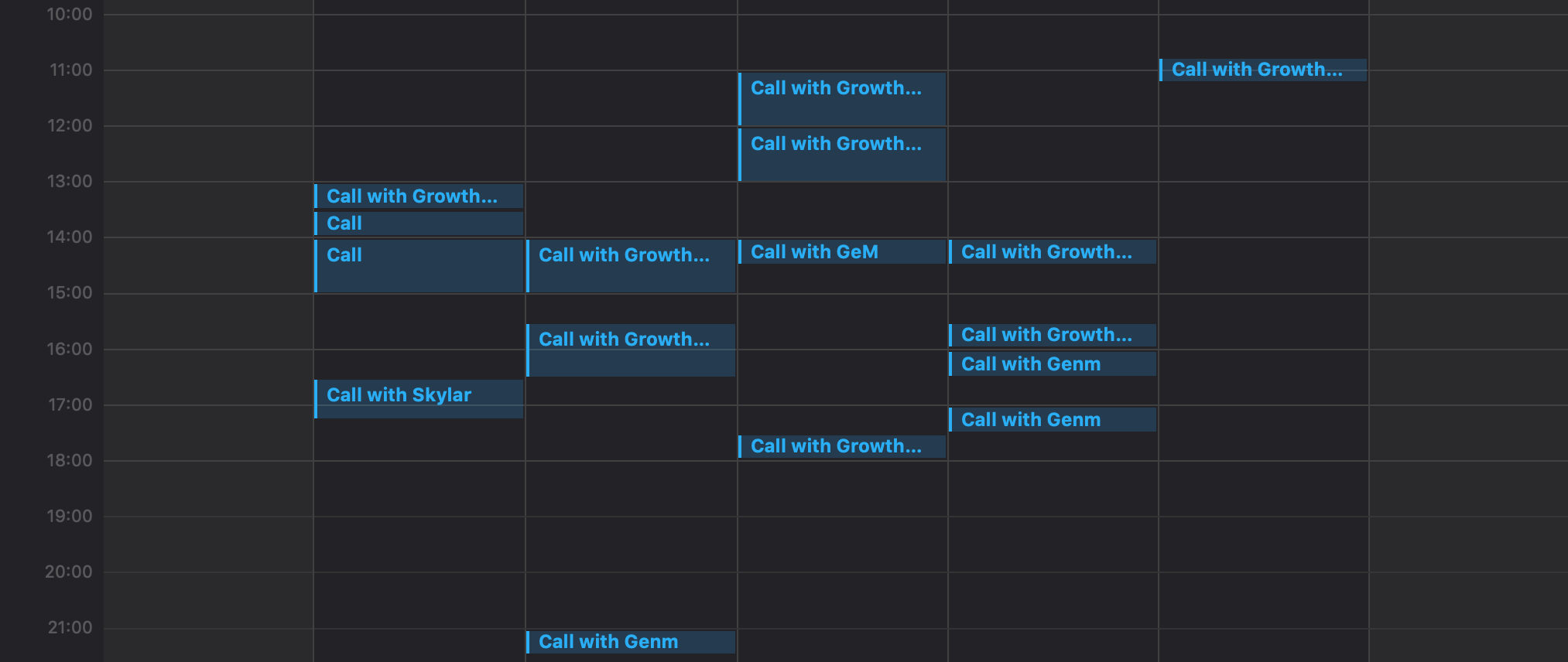 Full calendar by consultants of GrowthMentor