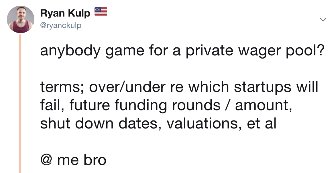 Startup Wagers Tweet