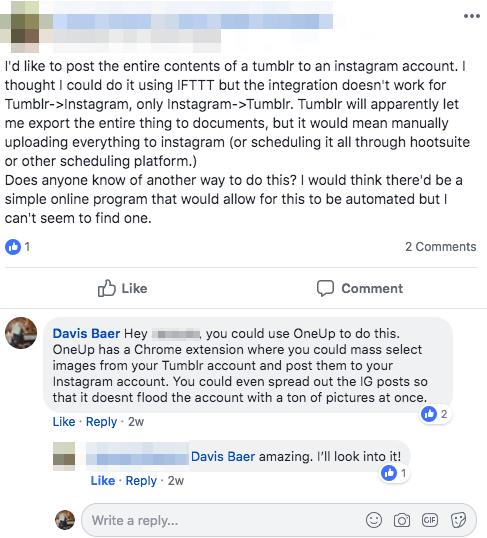 OneUp FB Post